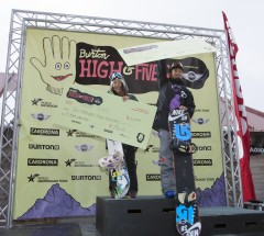 2014 Burton High Fives HP Podium-Chloe Kim and Yiwei Zhang-Photo Credit Phil Erickson