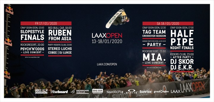 200 snowboard pros at the LAAX OPEN 2020 from January 13 to 18